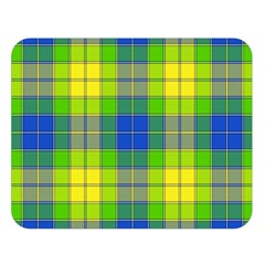 Spring Plaid Yellow Blue And Green Double Sided Flano Blanket (large)