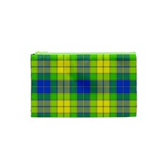 Spring Plaid Yellow Blue And Green Cosmetic Bag (xs)
