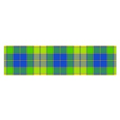 Spring Plaid Yellow Blue And Green Satin Scarf (oblong)