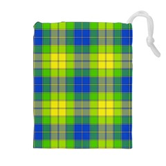 Spring Plaid Yellow Blue And Green Drawstring Pouches (extra Large)