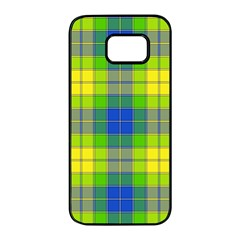 Spring Plaid Yellow Blue And Green Samsung Galaxy S7 Edge Black Seamless Case by BangZart