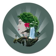 Digital Nature Beauty Magnet 5  (round)
