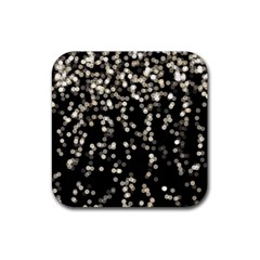 Christmas Bokeh Lights Background Rubber Square Coaster (4 Pack)