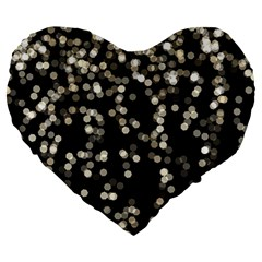 Christmas Bokeh Lights Background Large 19  Premium Heart Shape Cushions