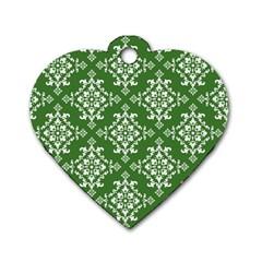 St Patrick S Day Damask Vintage Dog Tag Heart (one Side)