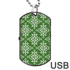 St Patrick S Day Damask Vintage Dog Tag Usb Flash (one Side)