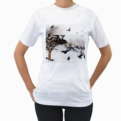 Birds Crows Black Ravens Wing Women s T Shirt (white) (two Sided)