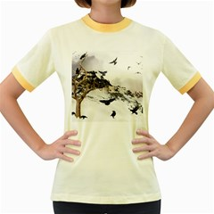 Birds Crows Black Ravens Wing Women s Fitted Ringer T Shirts