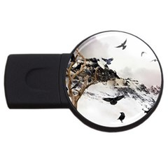 Birds Crows Black Ravens Wing Usb Flash Drive Round (2 Gb)
