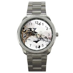 Birds Crows Black Ravens Wing Sport Metal Watch