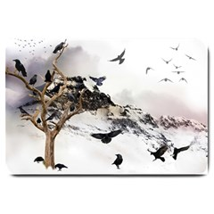 Birds Crows Black Ravens Wing Large Doormat