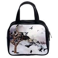 Birds Crows Black Ravens Wing Classic Handbags (2 Sides)