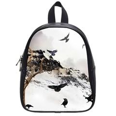 Birds Crows Black Ravens Wing School Bag (small)