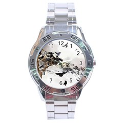 Birds Crows Black Ravens Wing Stainless Steel Analogue Watch