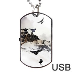 Birds Crows Black Ravens Wing Dog Tag Usb Flash (one Side)