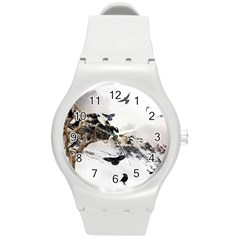 Birds Crows Black Ravens Wing Round Plastic Sport Watch (m)