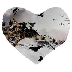 Birds Crows Black Ravens Wing Large 19  Premium Heart Shape Cushions