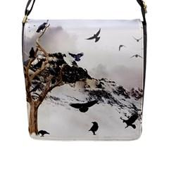 Birds Crows Black Ravens Wing Flap Messenger Bag (l)