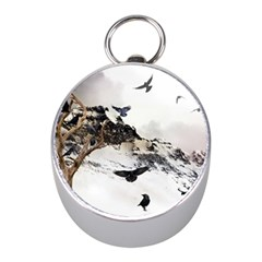Birds Crows Black Ravens Wing Mini Silver Compasses by BangZart