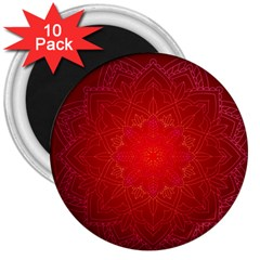 Mandala Ornament Floral Pattern 3  Magnets (10 Pack)