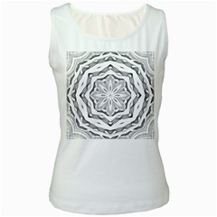 Mandala Pattern Floral Women s White Tank Top