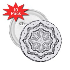 Mandala Pattern Floral 2 25  Buttons (10 Pack)