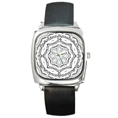 Mandala Pattern Floral Square Metal Watch