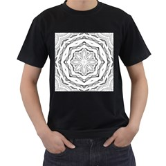 Mandala Pattern Floral Men s T Shirt (black) (two Sided)