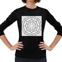 Mandala Pattern Floral Women s Long Sleeve Dark T Shirts
