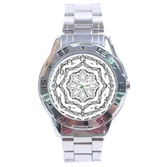Mandala Pattern Floral Stainless Steel Analogue Watch