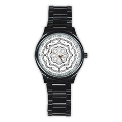 Mandala Pattern Floral Stainless Steel Round Watch