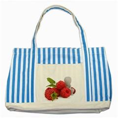 Fruit Healthy Vitamin Vegan Striped Blue Tote Bag by BangZart