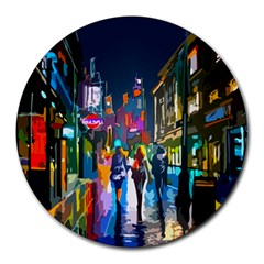 Abstract Vibrant Colour Cityscape Round Mousepads