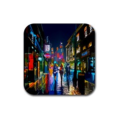 Abstract Vibrant Colour Cityscape Rubber Square Coaster (4 Pack)