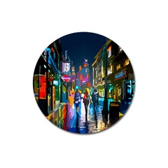 Abstract Vibrant Colour Cityscape Magnet 3  (round)