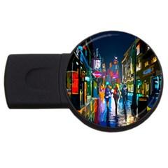 Abstract Vibrant Colour Cityscape Usb Flash Drive Round (2 Gb)