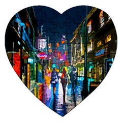 Abstract Vibrant Colour Cityscape Jigsaw Puzzle (heart) by BangZart