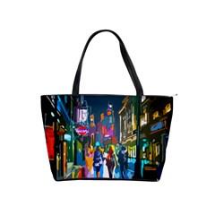 Abstract Vibrant Colour Cityscape Shoulder Handbags by BangZart