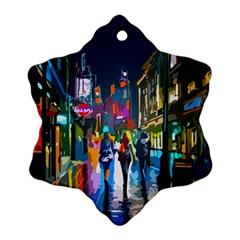 Abstract Vibrant Colour Cityscape Ornament (snowflake)