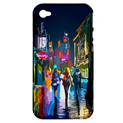 Abstract Vibrant Colour Cityscape Apple Iphone 4/4s Hardshell Case (pc+silicone)