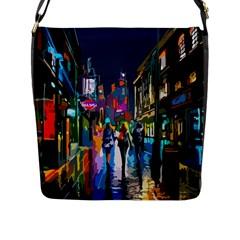 Abstract Vibrant Colour Cityscape Flap Messenger Bag (l)