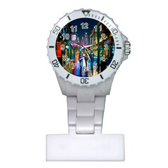 Abstract Vibrant Colour Cityscape Plastic Nurses Watch