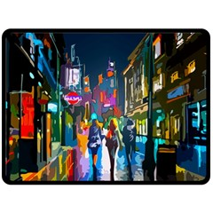 Abstract Vibrant Colour Cityscape Double Sided Fleece Blanket (large)