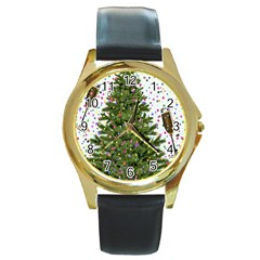 New Year S Eve New Year S Day Round Gold Metal Watch by BangZart