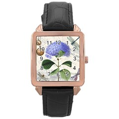 Vintage Shabby Chic Dragonflies Rose Gold Leather Watch