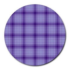 Purple Plaid Original Traditional Round Mousepads