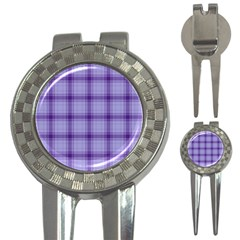 Purple Plaid Original Traditional 3 In 1 Golf Divots