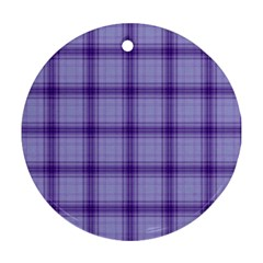 Purple Plaid Original Traditional Round Ornament (two Sides)
