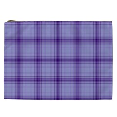 Purple Plaid Original Traditional Cosmetic Bag (xxl)