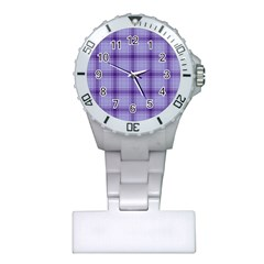 Purple Plaid Original Traditional Plastic Nurses Watch